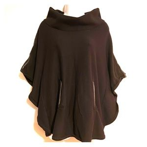 WHBM Black Leather Trim Sweater Cape S
